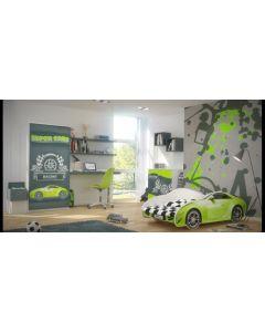 Autós gyerekágy MATRACCAL (160 X 80 zöld)