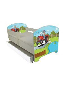 Traktoros Ágy 140 X 70 leesésgátlós AJÁNDÉK MATRACCAL, ágyneműtartóval